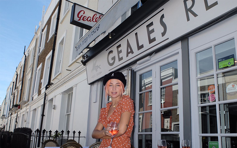 Actress Jessica Woodley standing outside Geales restaurant in Notting Hill