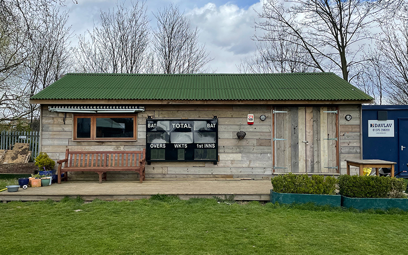 Acton Cricket Club's temporary pavilion built by Chairman's son
