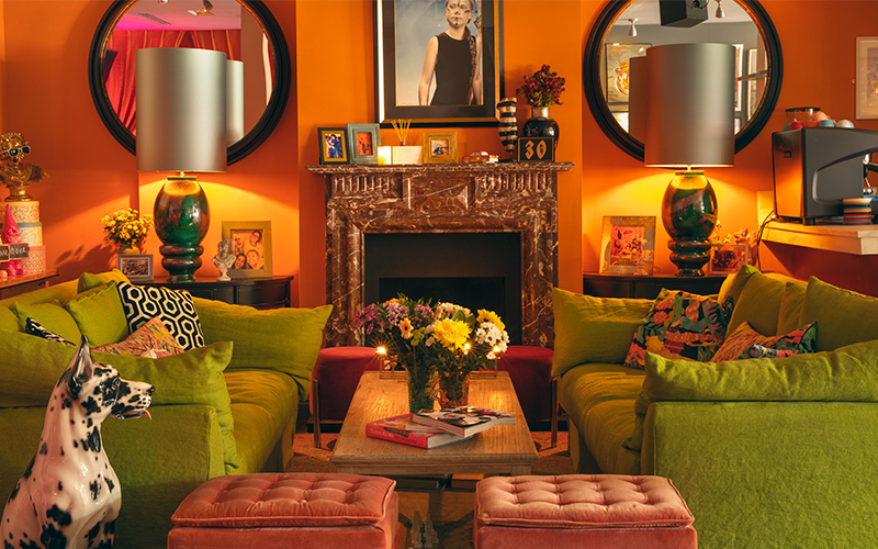 A living room space at the little orange door in clapham.