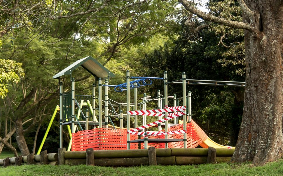 Playgrounds around the world have been forced closed by lockdowns.