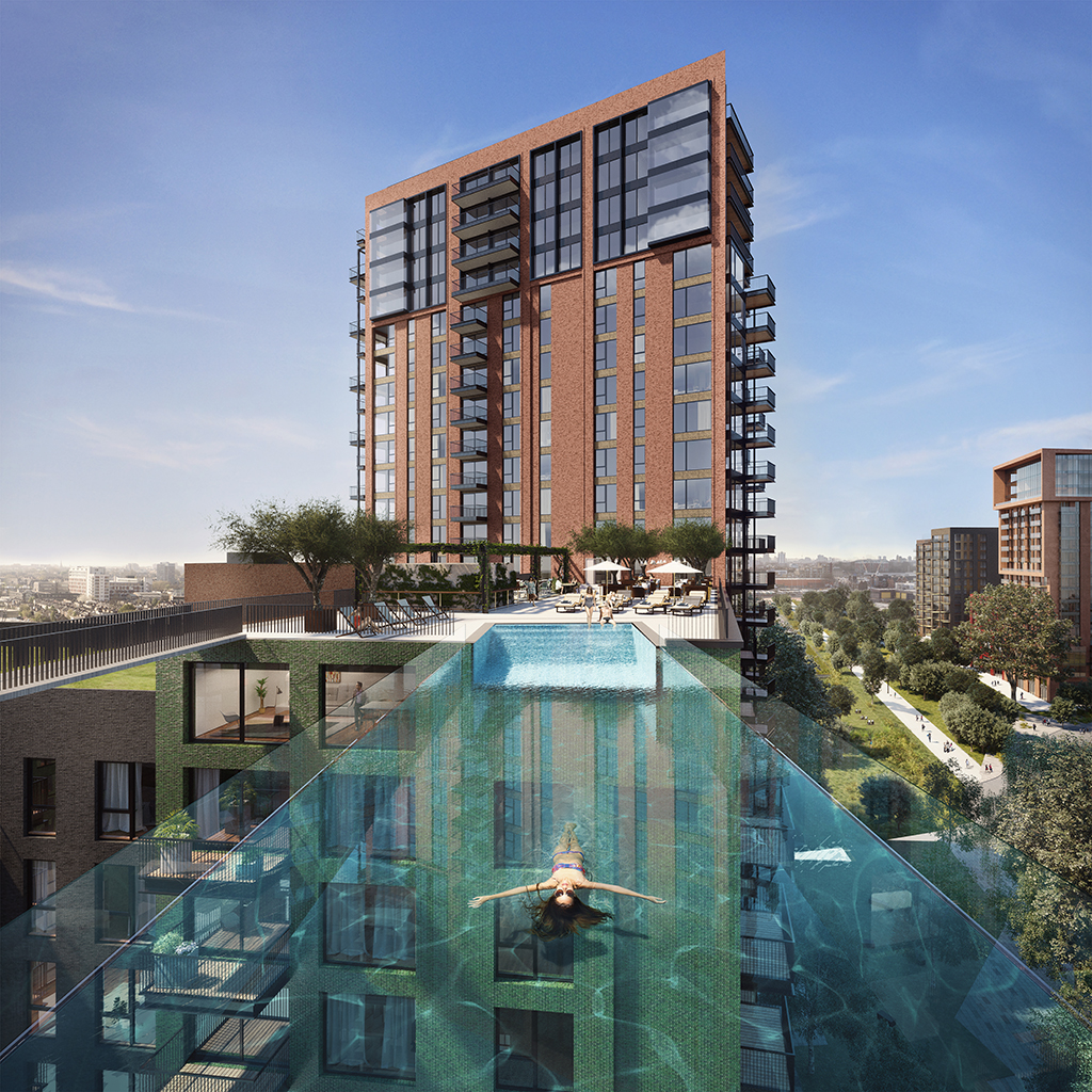 A swimmer lounges in the Nine Elms sky pool