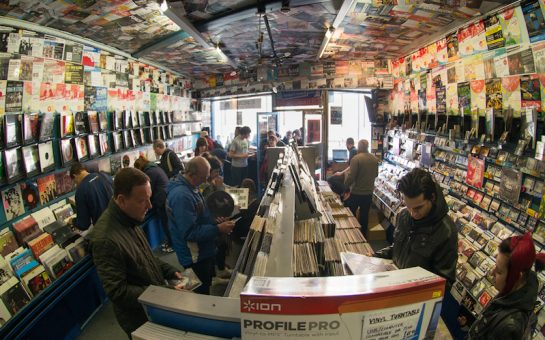 Image of people looking at vinyl records in Banquet Records shop in Kingston London