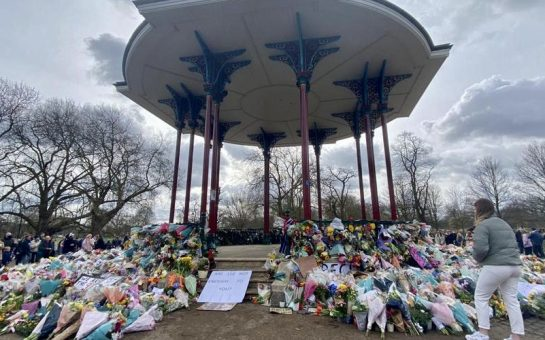 Vigil at bandstand in Clapham Common
