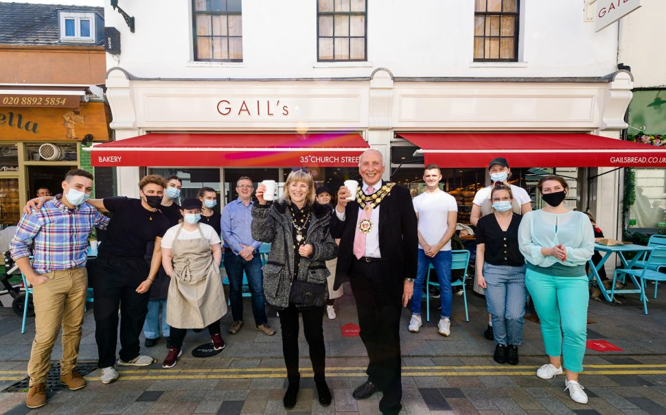 the mayor and his wife outside Twickenham Gail's