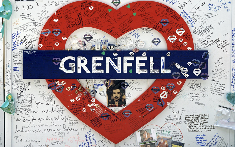 A mural paying tribute to victims of 2017 Grenfell Fire