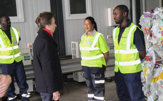 Princess Anne thanking waste workers in Southwark