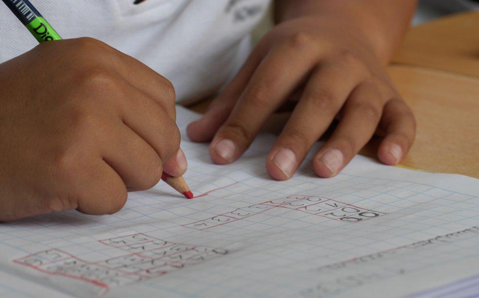 school child doing homework