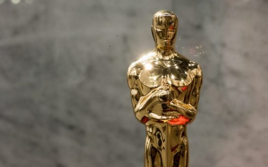 Close-up of an Oscar statuette given out at the Academy Awards annually