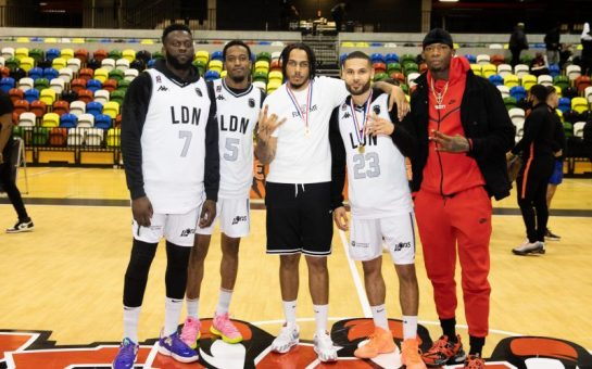 London Lions players with artist AJ Tracey