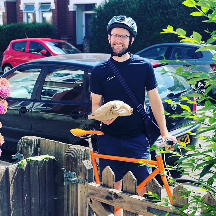 Actor Brendan Cull delivering bread around Colliers Wood