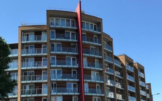 A picture of the front of Viridian Apartments