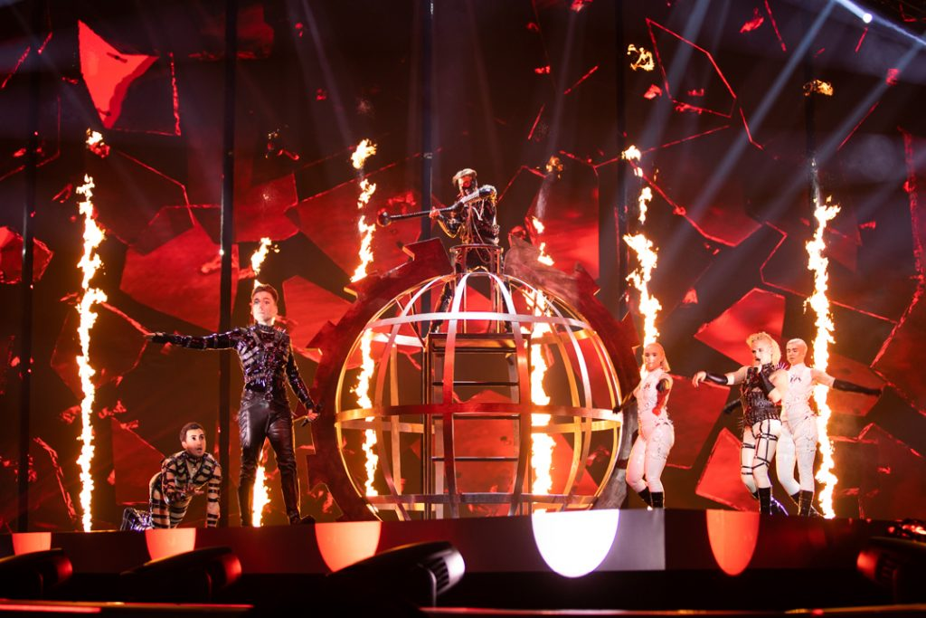 Hatari perform surrounded by flames at Eurovision