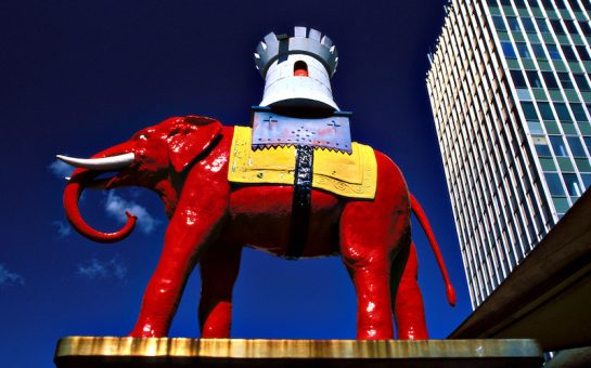 An image of the Elephant sculpture outside Elephant and Castle station in South London