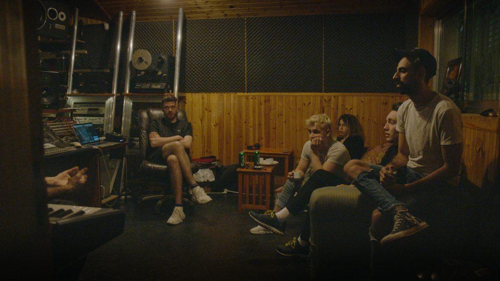 Hatari and Bashar Murad sat in a recording studio