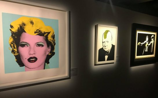 Collection of Banksy works depicting Kate Moss, Winston Churchill and John Travolta and Samuel L Jackson in Pulp Fiction