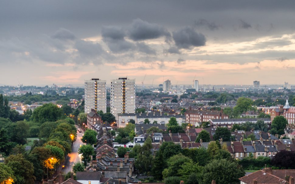 London Cityscape- Streets of terraced house and council estate tower blocks form the cityscape of Tooting and Earlsfield in south west London.