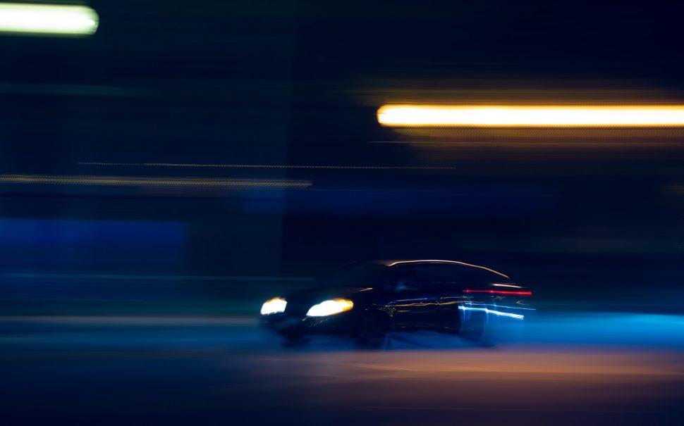 supercar racing at night