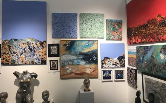 Colourful oil paintings and sculptures at the Affordable Art Fair Battersea