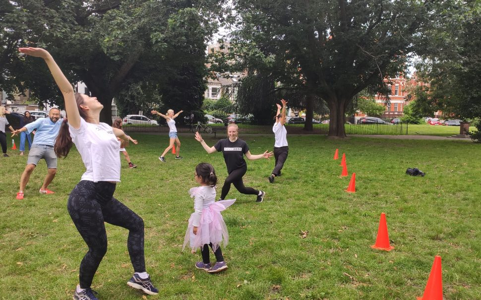 Dancers dancing in the park