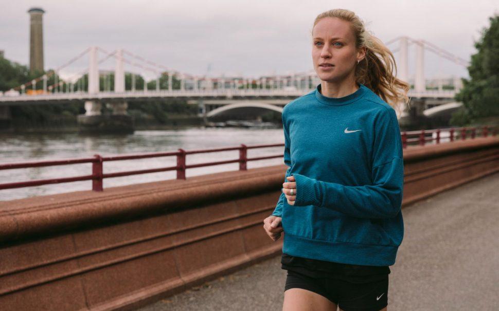 Katie Snowden running through South West London