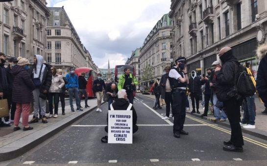 Extinction Rebellion protestor at Oxford Circus