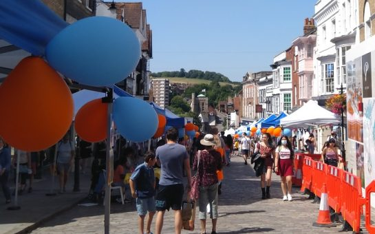 Guildford High Street with Children's Business Fair stalls