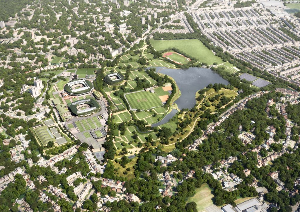 Virtual image of an aerial view of the planned facilities.