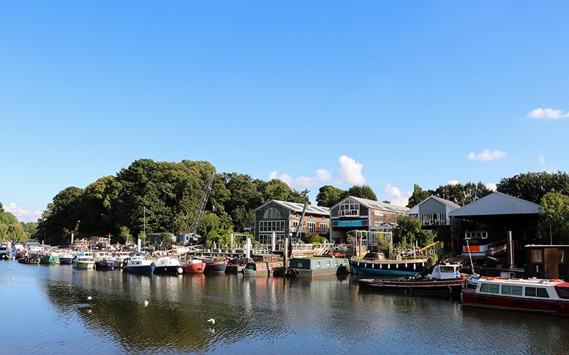 Eel Pie Island boat yards from Twickenham bank.