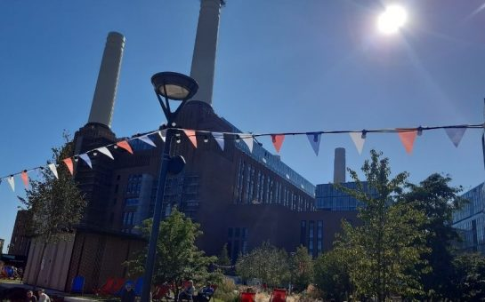 Sunny Battersea Power Station with bunting