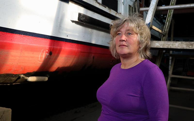 Helen Montgomery-Smith in Eel Pie Island Boat Yard