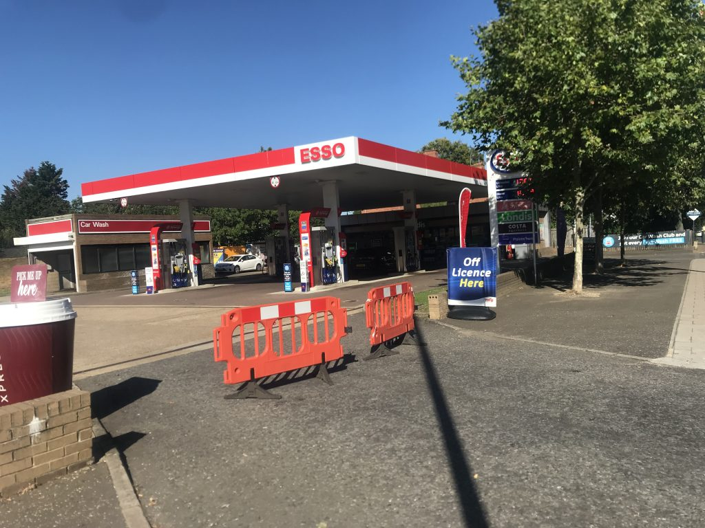 Esso station in Twickenham, South West London, blocked off, not just BP stations