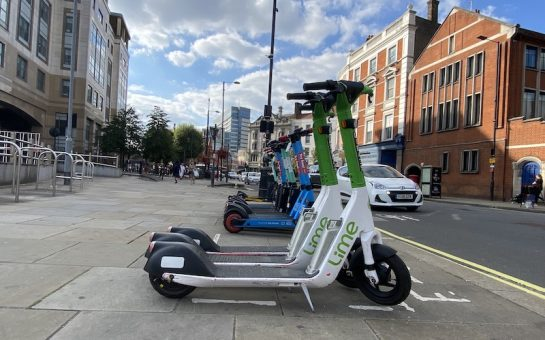 A set of e-scooters
