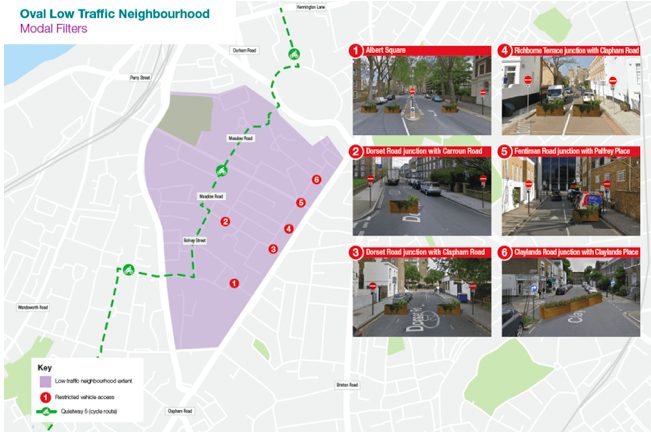 A map of the locations of the Oval-Stockwell LTN roadblocks