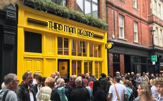 the outside of third man records new shop with crowds of people