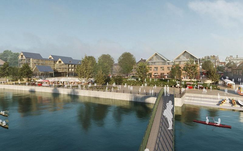 Twickenham Riverside Development from Eel Pie Island