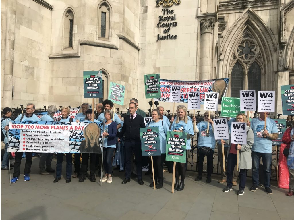 Anti-third runway campaigners outside the Royal Courts of Justice
