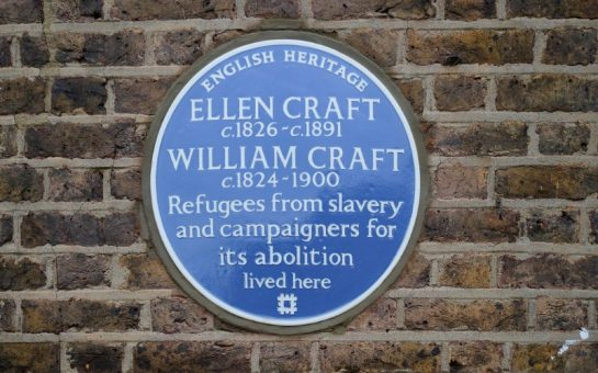 Photo of blue plaque of Ellen and William Craft, refugees from slavery and campaigners for its abolition