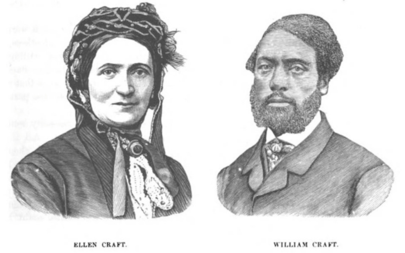 Black and white illustration of Ellen and William Craft, Ellen wearing a bonnet and William wearing a suit and tie