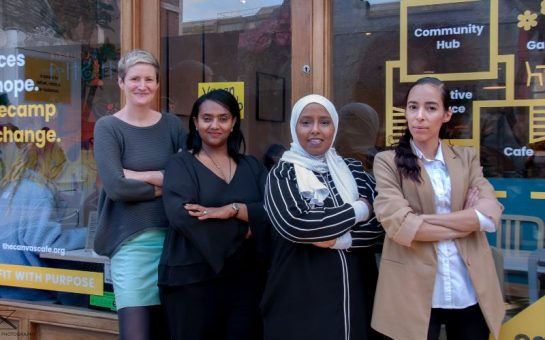 Four of the women behind the project stood in front of Canvas cafe