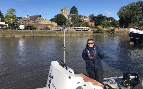 GB Coach Helen Brown on a boat off Eel Pie Island