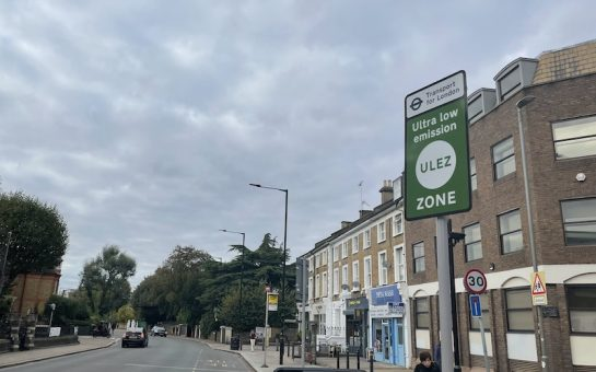 A green ultra low emission zone sign on Upper Richmond Road