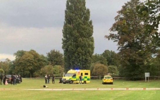 A police car and ambulance at Craneford Way Playing Fields