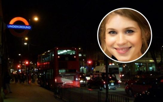 Sarah Everard against a background of a London street at night