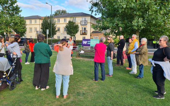 People gathered on Twickenham Green for a vigil held on September 2 2021
