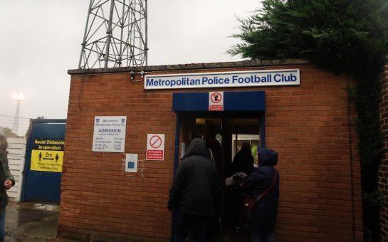 Turnstile entrance to Metropolitan Police FC