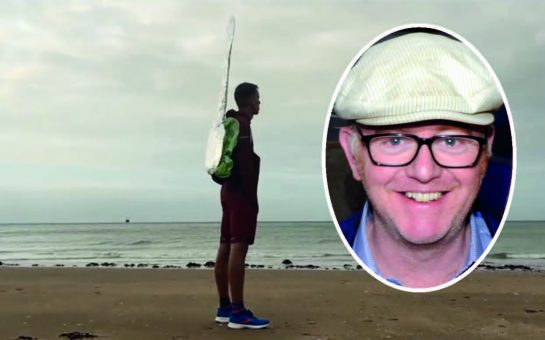 Harry Baker, dressed as a falafel on a spoon, stands sentient on a Margate beach. Chris Evans inset.