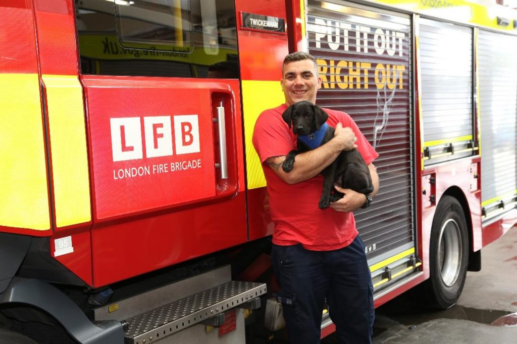 Rob Parson holding Opie, a small black Labrador, in front of a fire engine at Twickenham Fire Station