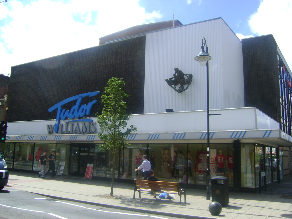 The shopfront of the old Tudor Williams Department store, taken from the High Street.